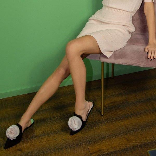 Slipper in camoscio con fiocco personalizzabili